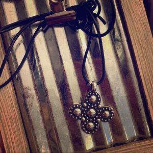 Beaded Greek cross necklace